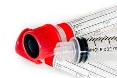 Tubes et seringue à essai Image stock