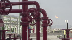 Tubes exhaust of refinery. Tubes and maquinary of Pemex refinery stock video