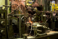 Tubes factory. Tubes manufacture, factory, process of production stock images