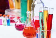 Tubes in the laboratory,  soft focus Stock Photos