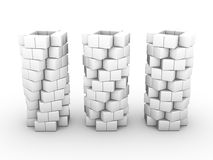 Tubes made of small white cubes Stock Photography