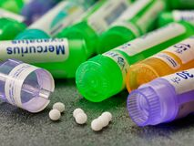 Free Tubes Of Homeopathy Pills Close Up Stock Photography - 171774162