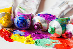 Tubes of oil paint closeup on palette Royalty Free Stock Images
