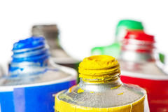 Tubes of oil paint open Stock Photos