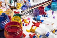 Tubes of paint. Abstract background Royalty Free Stock Photos