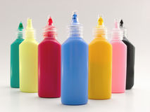 Tubes with a paint. Seven tubes with a multicoloured paints Stock Images