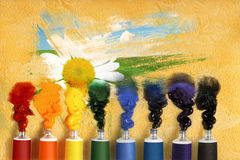 Tubes of paint and camomile Royalty Free Stock Photography