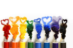 Tubes of paint with Heart Stock Photos