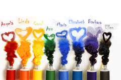 Tubes of paint with Heart Royalty Free Stock Photos