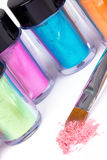 Tubes with professional pigment and make-up brush Royalty Free Stock Images
