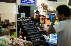Tubes of professional tattoo paint at showcase and artists nearb Stock Images