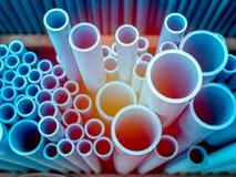 Blue PVC pipes royalty free stock photos