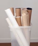 Tubes, and rolls of fabric and paper Stock Photography