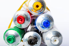 Tubes With Colored Acrylic Paints Royalty Free Stock Images