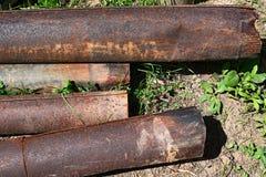 Tubi arrugginiti del metallo Fotografie Stock Libere da Diritti