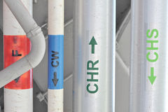 Tubi d'acciaio nell'ambito del soffitto Fotografie Stock