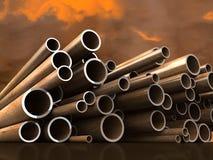 Tubi d'acciaio sulla priorità bassa atmosferica della nube Fotografia Stock Libera da Diritti