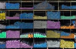 Tubi del metallo ed oggetti del primo piano della foto del fondo Fotografia Stock Libera da Diritti