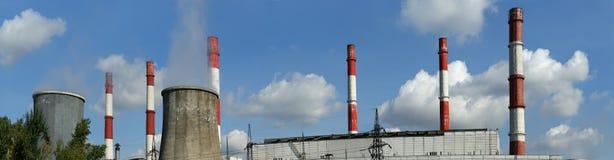Tubi della centrale elettrica burning del carbone Immagine Stock Libera da Diritti