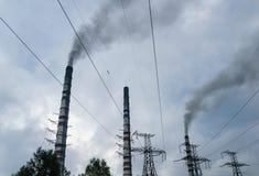 Tubi della centrale elettrica termica Immagini Stock Libere da Diritti