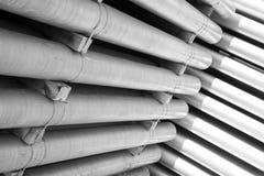 Tubi di alluminio come materia prima Fotografia Stock