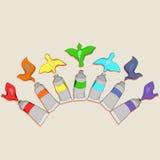 Tubi di pittura con gli uccelli illustrazione vettoriale