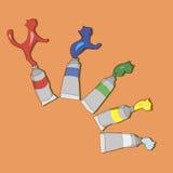 Tubi di pittura con i gatti illustrazione di stock