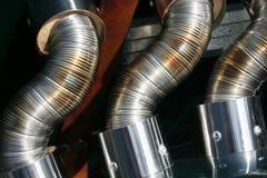 Tubi di scarico molteplici su un'automobile d'annata Fotografia Stock Libera da Diritti