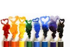 Tubi di vernice con cuore Fotografie Stock