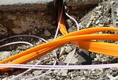 Tubi e condotte per fibra ottica per Internet ad alta velocità Immagini Stock
