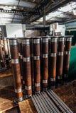 Tubi finiti della flangia in fabbrica fotografia stock