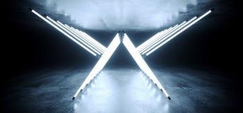Tubi futuristici d'ardore al neon della luce bianca di Sci Fi Wing Shaped Triangle Neon Glowing nel ballo concreto concreto scuro illustrazione vettoriale