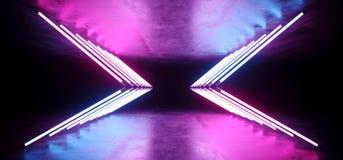 Tubi leggeri blu d'ardore al neon Wing Shaped Triangle Neon Glowing di porpora bianca futuristica di rosa di Sci Fi in Refelctive illustrazione vettoriale
