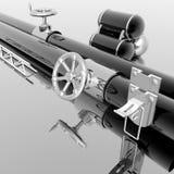 Tubi metallici con la manovella Fotografie Stock Libere da Diritti