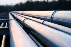 Tubi nella fabbrica del petrolio greggio durante il crepuscolo Fotografia Stock