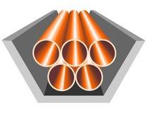 Tubi in parte rivestita in cemento armato illustrazione di stock
