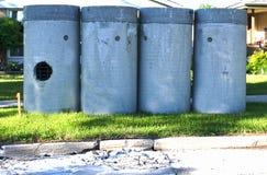 Tubi per fognatura concreti Fotografia Stock