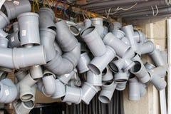 Tubi per fognatura di plastica Fotografia Stock
