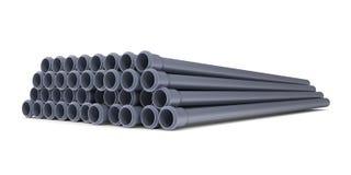 Tubi per fognatura grigi del PVC Fotografie Stock