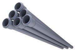 Tubi per fognatura grigi del PVC Fotografie Stock Libere da Diritti