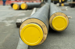 Tubi per il riscaldamento di vapore e dell'acqua calda fotografia stock