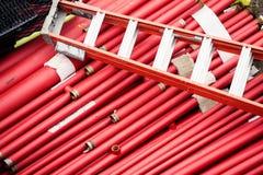 Tubi rossi del metallo Immagine Stock Libera da Diritti
