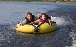 Tubing. Fun on a lake Royalty Free Stock Photos