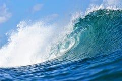 Tubing Blue Wave in Honolulu, Hawaii stock photos