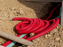 Tubing for electrical cables. Or telephone cables Stock Images