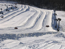 Tubing Hill. Snowy hill for recreational tubing Stock Photos