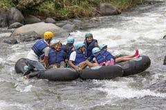 Tubing on the Mindo river in Ecuador Stock Photography