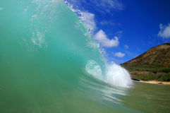 Tubing Surfing Waves at Sandy Beach Hawaii. Stock photo of a tubing wave at Sandy Beach on the island of Oahu, Hawaii royalty free stock photos