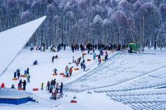 Tubing zabawa w zimie Fotografia Royalty Free
