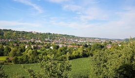 Tubingen, Baden-Wurttemberg, Germany. View on the green hills and the center of Tubingen, Baden Wurttemberg, Germany Stock Image